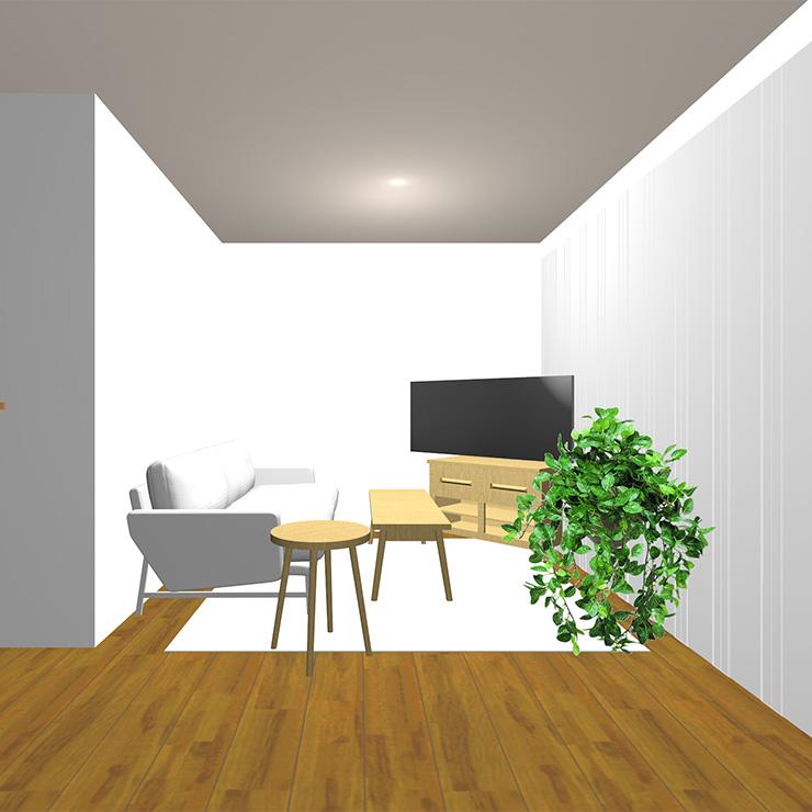 (ミディアムブラウンの床と明るいラグと明るい茶色)のソファや家具