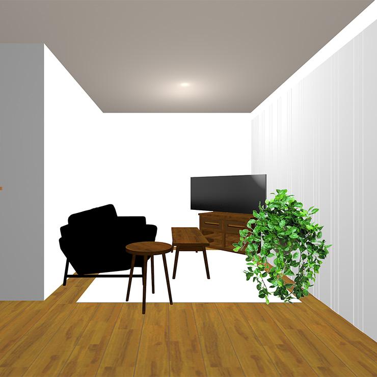 ミディアムブラウンの床と明るいラグとライト系(明るい茶色)のソファや家具