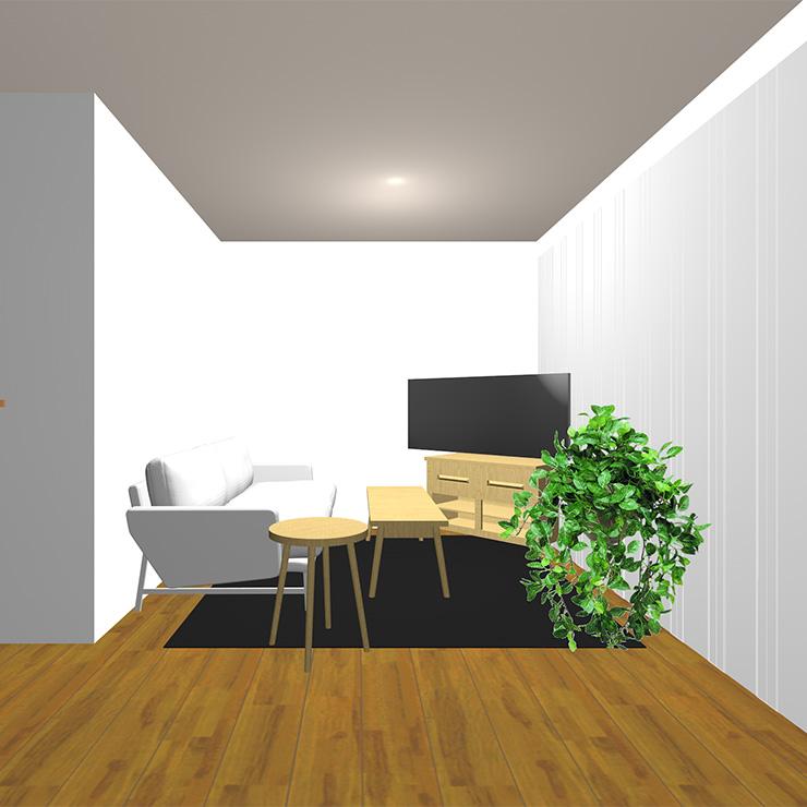 ミディアムブラウンの床と暗いラグとライト系(明るい茶色)のソファや家具