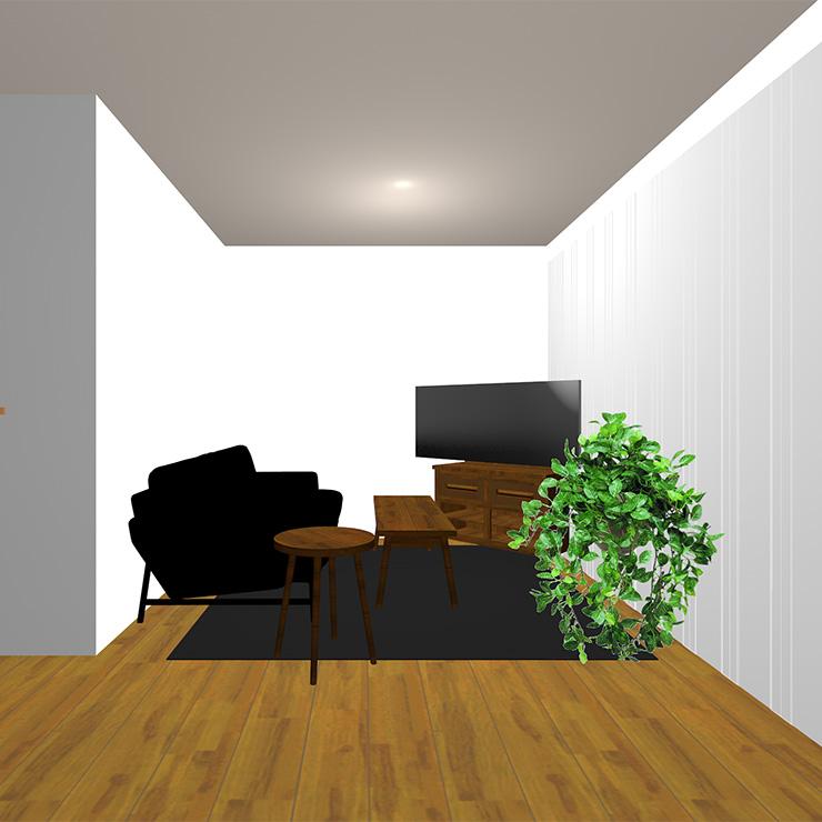 ミディアムブラウンの床と暗いラグとダーク系(暗い茶色)のソファや家具