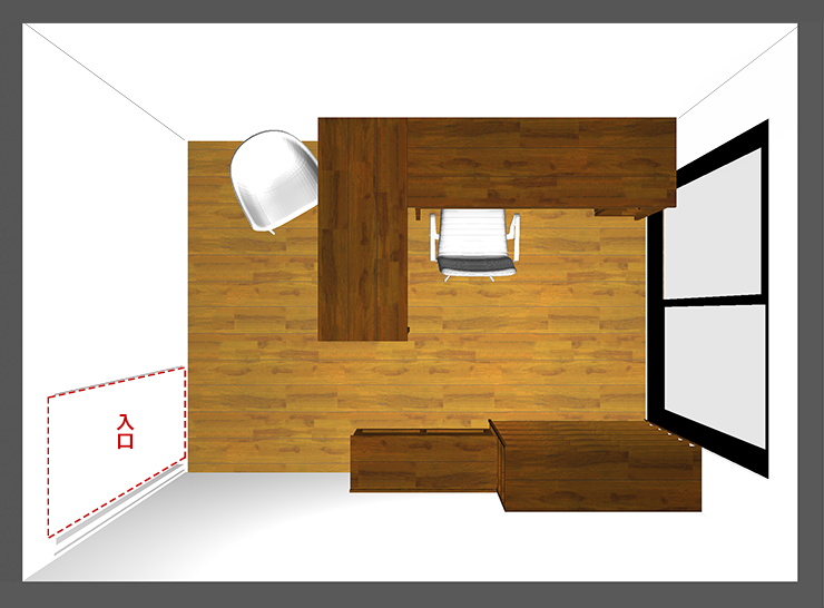 仕事部屋レイアウト:壁+中央