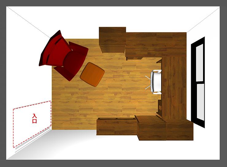 仕事部屋レイアウト:壁付けL型