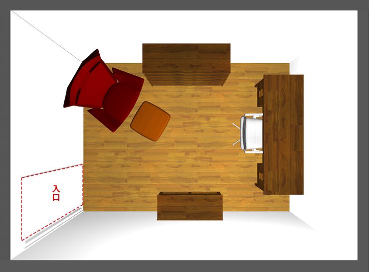 仕事部屋レイアウト:短い壁前デスク
