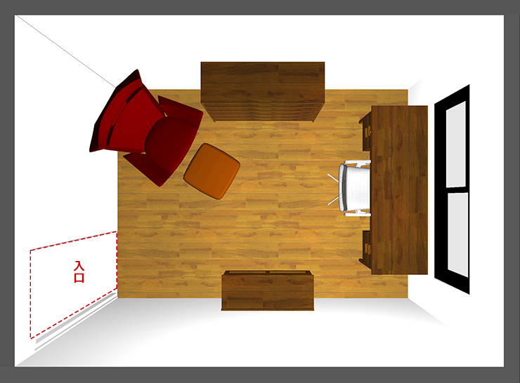 仕事部屋レイアウト:短い窓前デスク