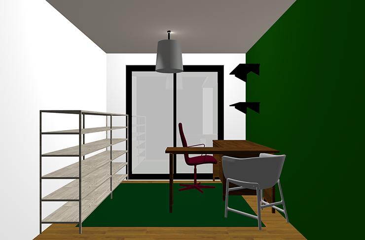 仕事部屋緑