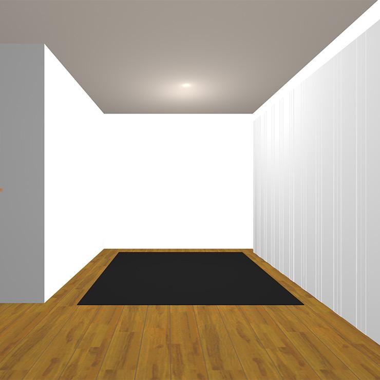 ミディアムブラウンの床と暗いラグ