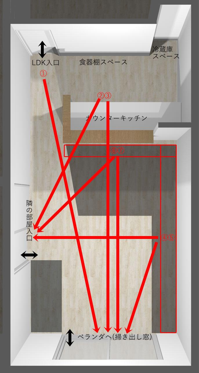 縦長リビングの視線の抜けと家具レイアウト位置