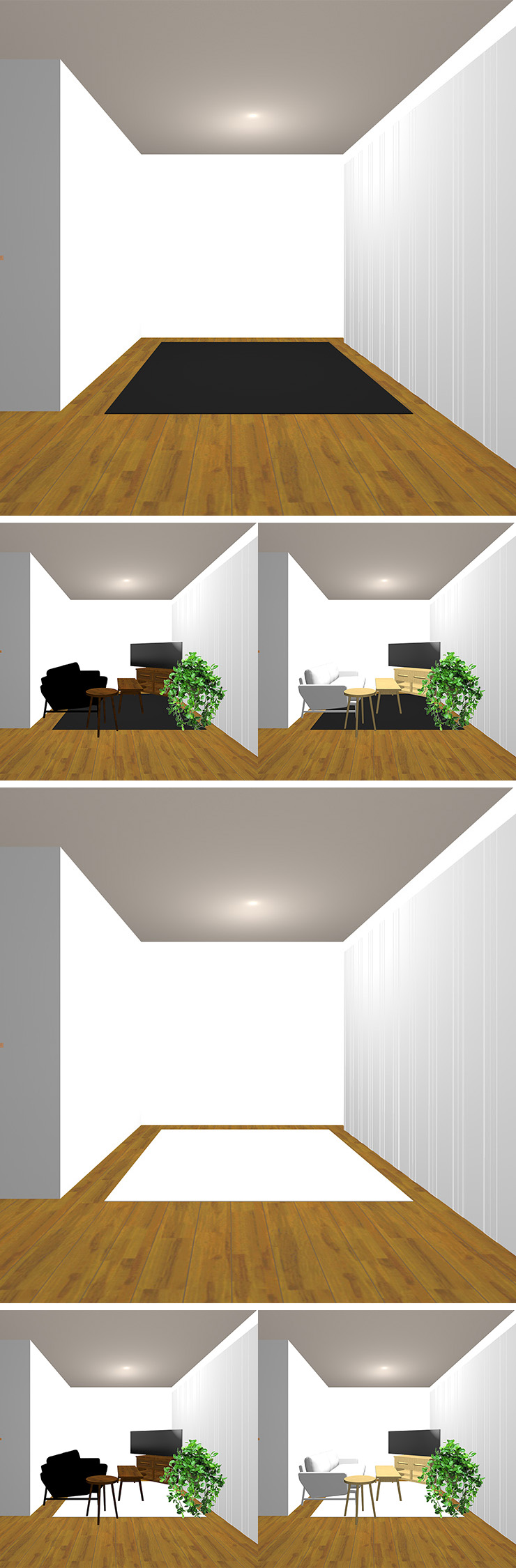 2種類のラグの明るさと2種類の明るさの家具の組み合わせ