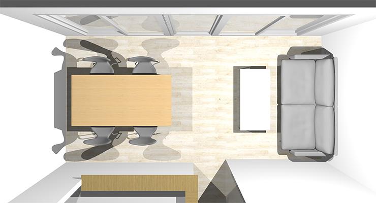 2面が壁の横長リビングの上から見た配置図