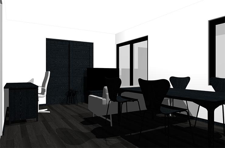 黒の床と黒の家具