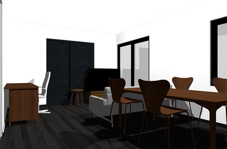黒の床とダークブラウンの家具