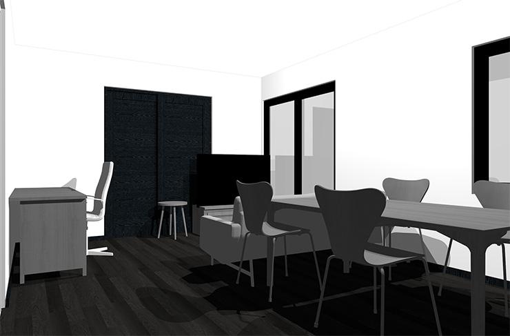 黒の床とグレーの家具