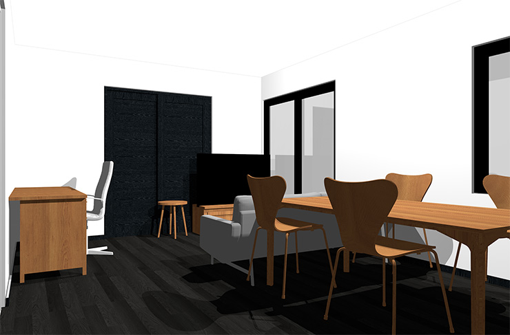 黒の床とミディアムブラウンの家具