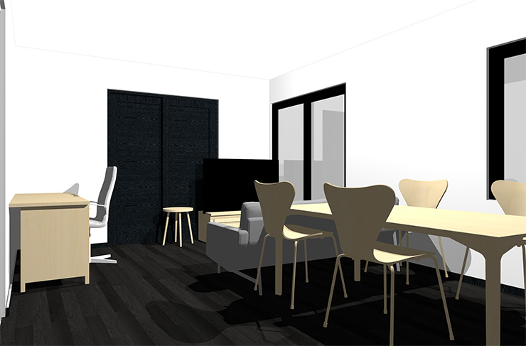 黒の床とナチュラルブラウンの家具