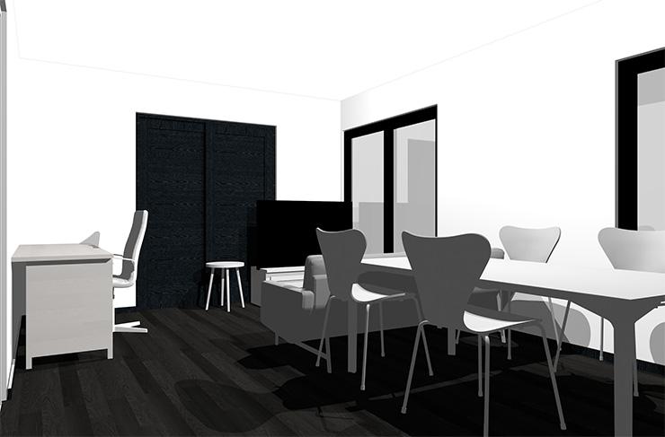 黒の床とホワイトの家具