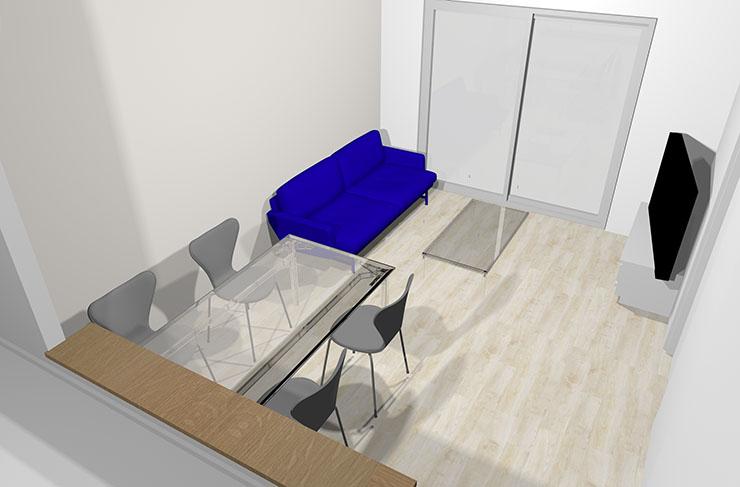 青のソファ