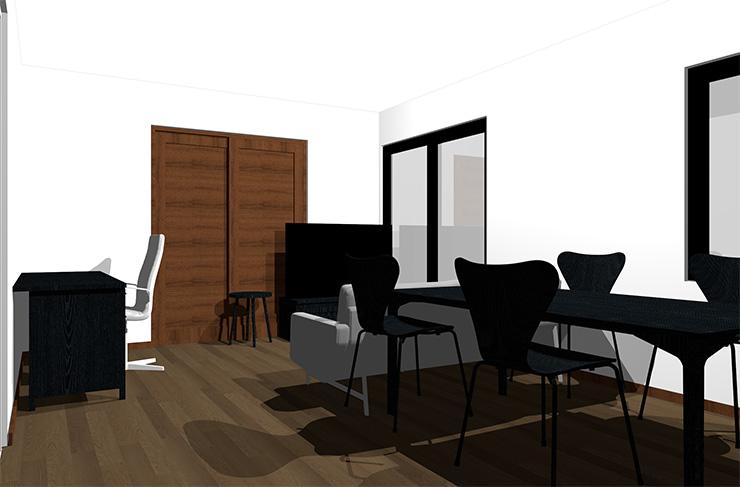 ダークブラウンの床と黒の家具
