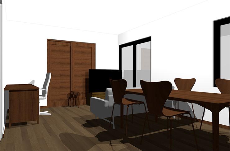 ダークブラウンの床とダークブラウンの家具