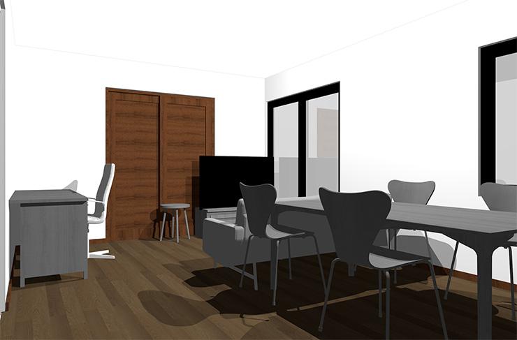 ダークブラウンの床とグレーの家具