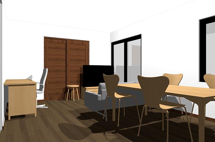 ダークブラウンの床とライトブラウンの家具