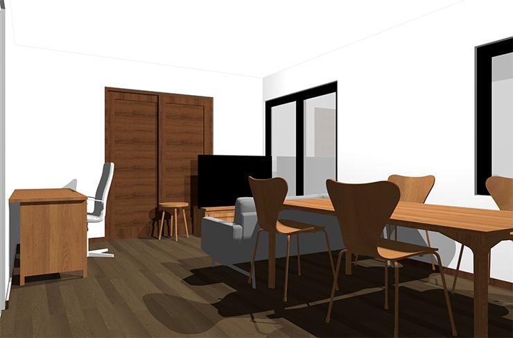 ダークブラウンの床とミディアムブラウンの家具
