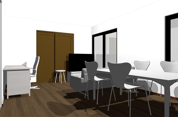 ダークブラウンの床とホワイトの家具