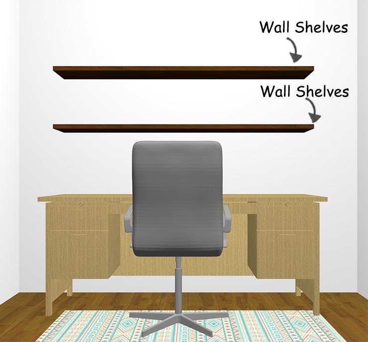 壁に向かって配置したデスクとウォールシェルフ
