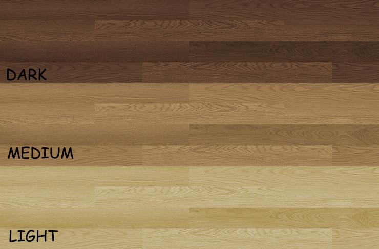 ダーク・ミィディアム・ライトの3種類のフローリング