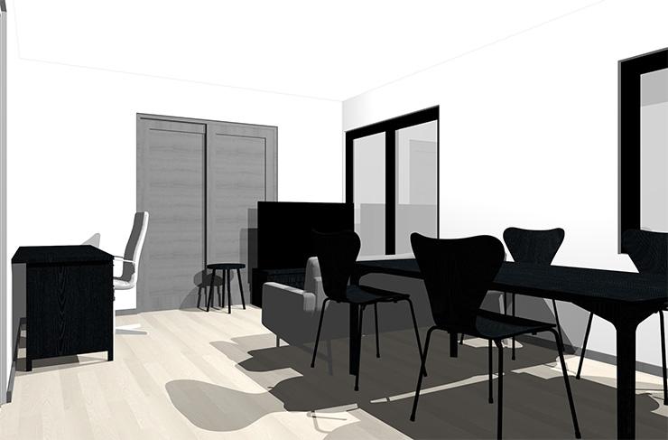 グレーの床と黒の家具