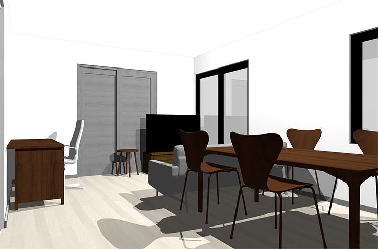 のグレーの床とダークブラウンの家具