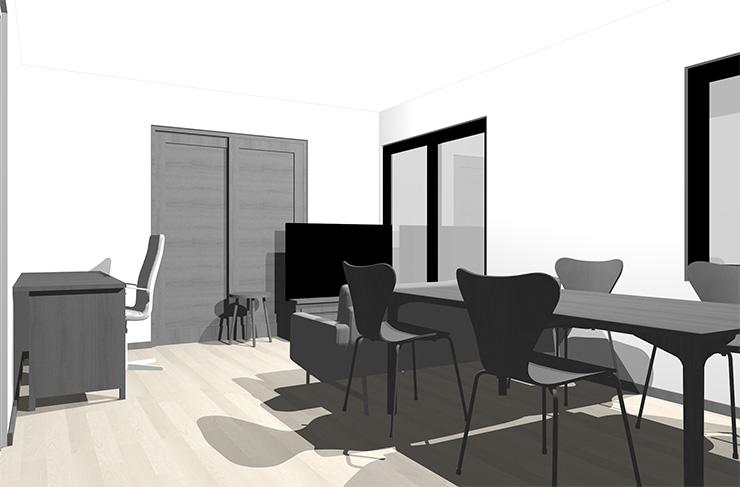 グレーの床とグレーの家具