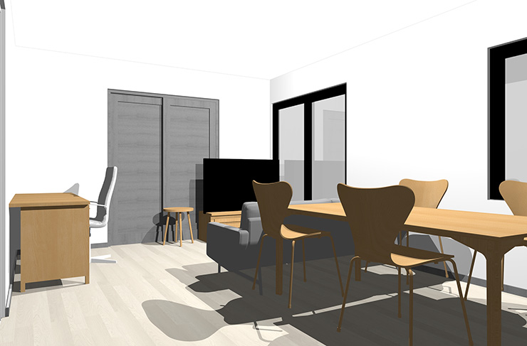 グレーの床とライトブラウンの家具