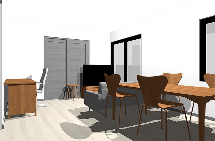 グレーの床とミディアムブラウンの家具