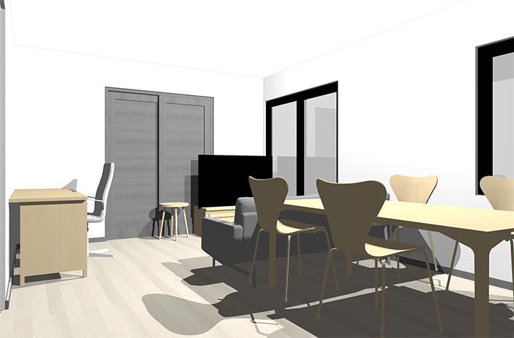 グレーの床とナチュラルブラウンの家具