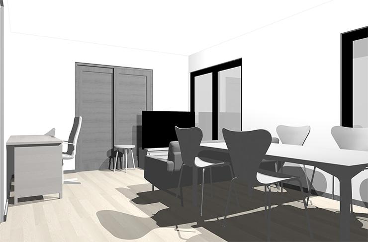 グレーの床とホワイトの家具