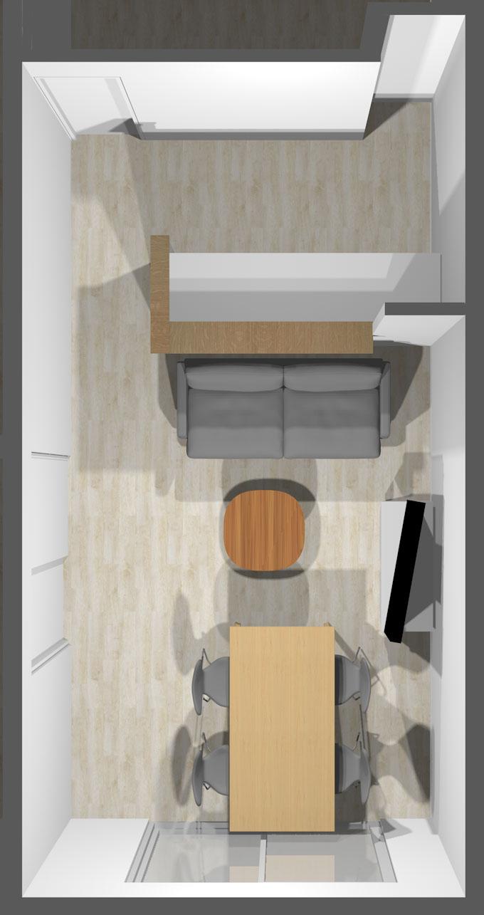カウンターキッチン前の壁から掃き出し窓への「視線の抜け」を重視したレイアウト③