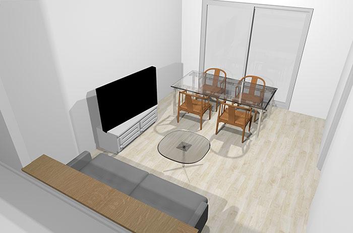 ガラス製のダイニングテーブルと透け感デザインのダイニングチェア