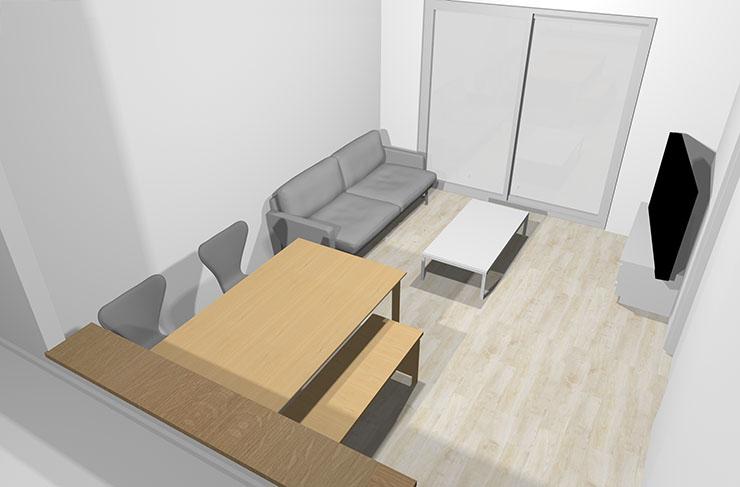 縦長リビング家具レイアウト3のベンチバージョンのパース図