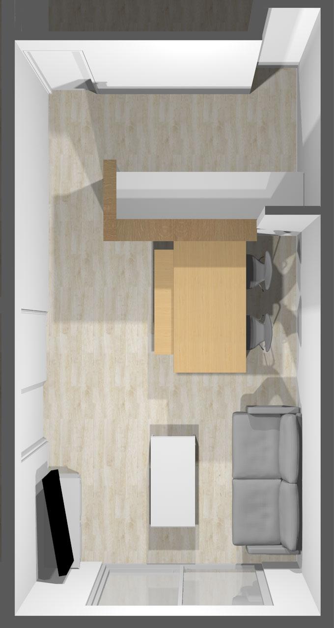 縦長リビング家具レイアウト3のベンチバージョン