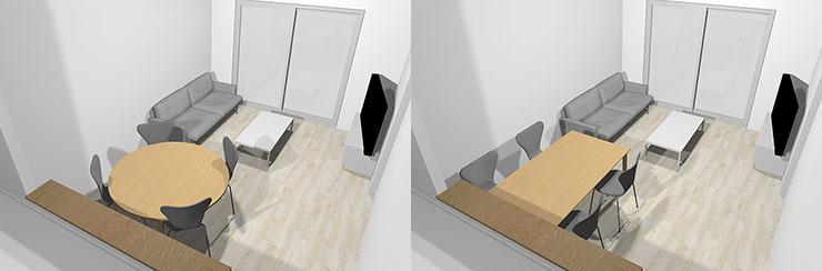 長方形ダイニングテーブルと丸型ダイニングテーブル