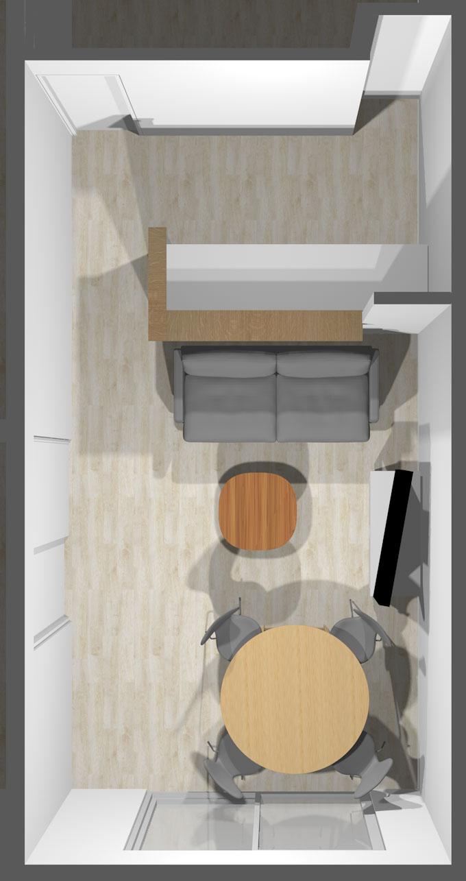 カウンターキッチン前の壁から掃き出し窓への「視線の抜け」を重視したレイアウト①