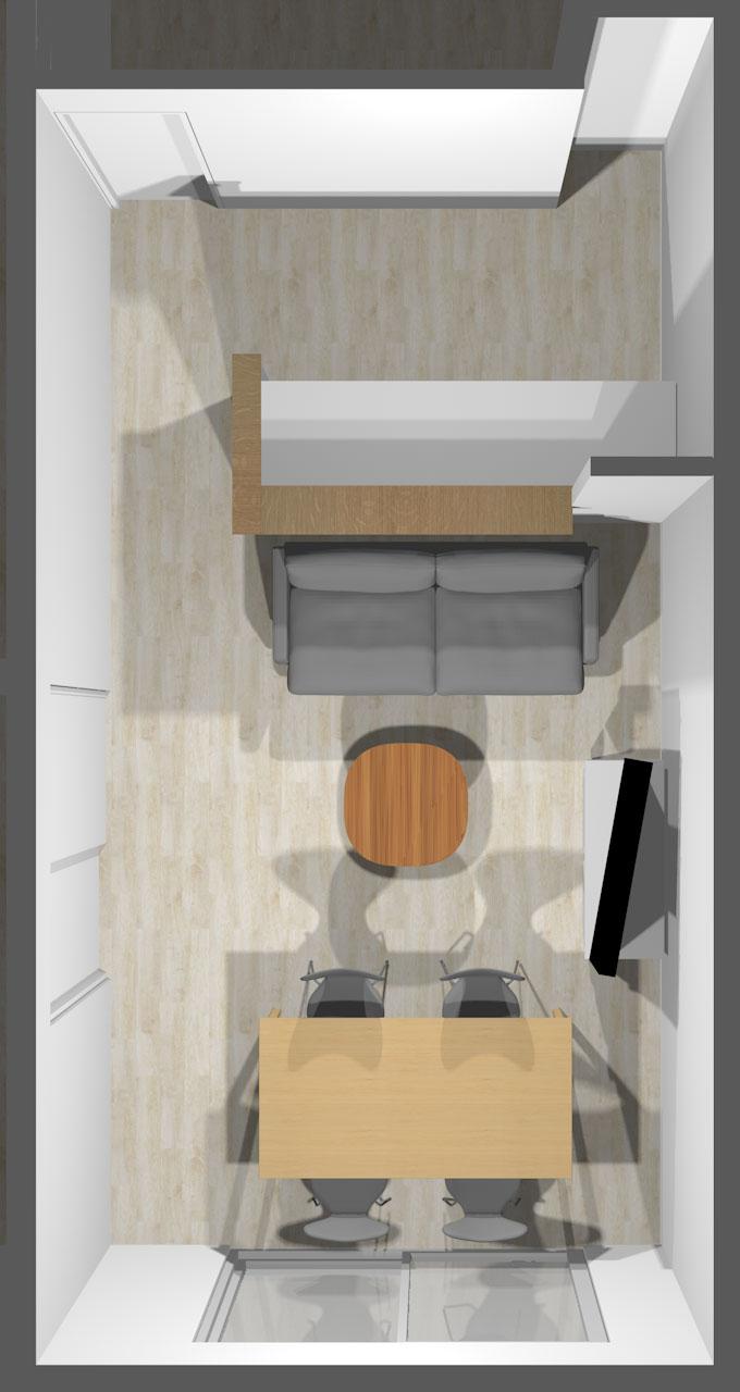 カウンターキッチン前の壁から掃き出し窓への「視線の抜け」を重視したレイアウト②