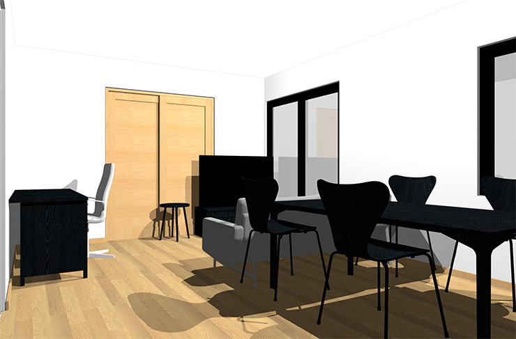 ライトブラウンの床と黒の家具