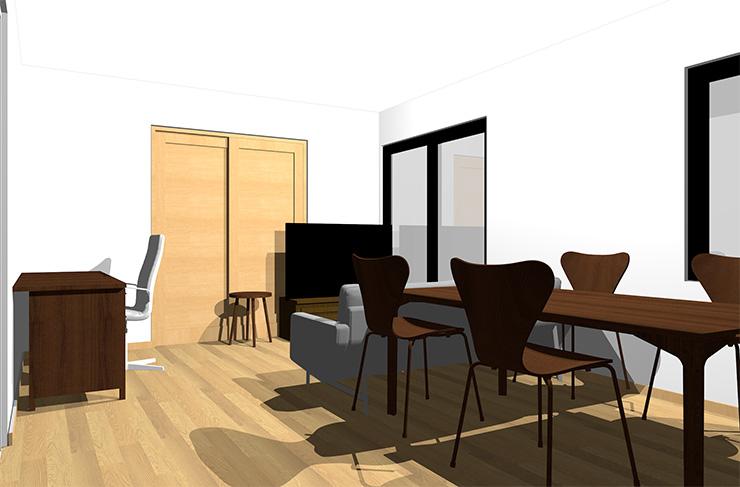 ライトブラウンの床とダークブラウンの家具