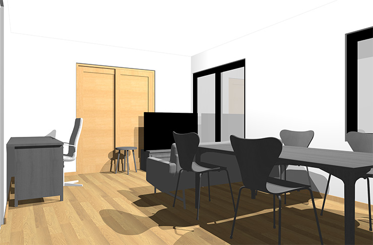 ライトブラウンの床とグレーの家具
