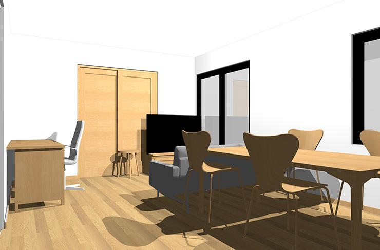 ライトブラウンの床とライトブラウンの家具