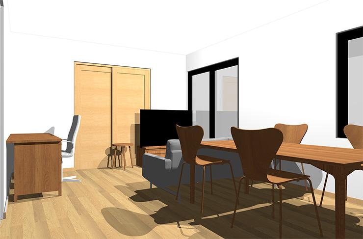 ライトブラウンの床とミディアムブラウンの家具