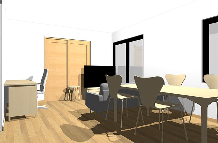 ライトブラウンの床とナチュラルブラウンの家具
