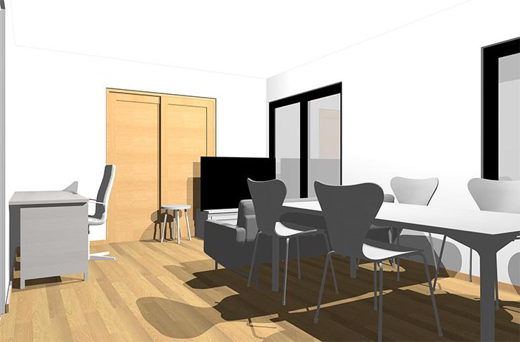 ライトブラウンの床とホワイトの家具