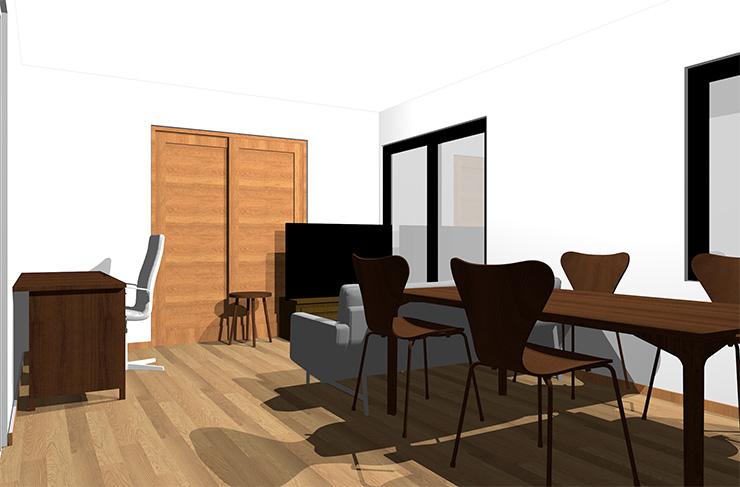 ミディアムブラウンの床とダークブラウンの家具